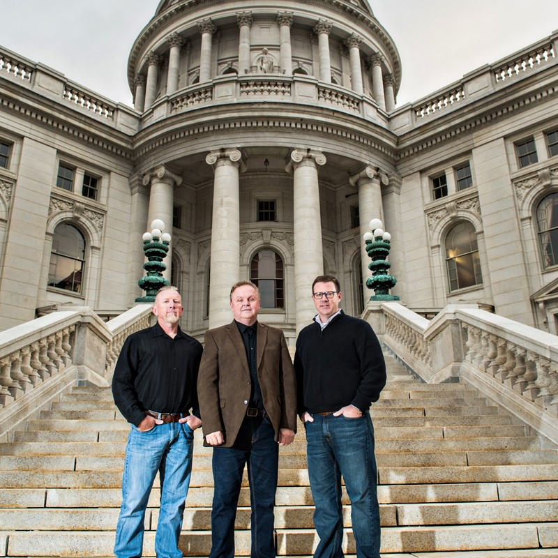 1848 Construction leadership team standing in front of the capital building